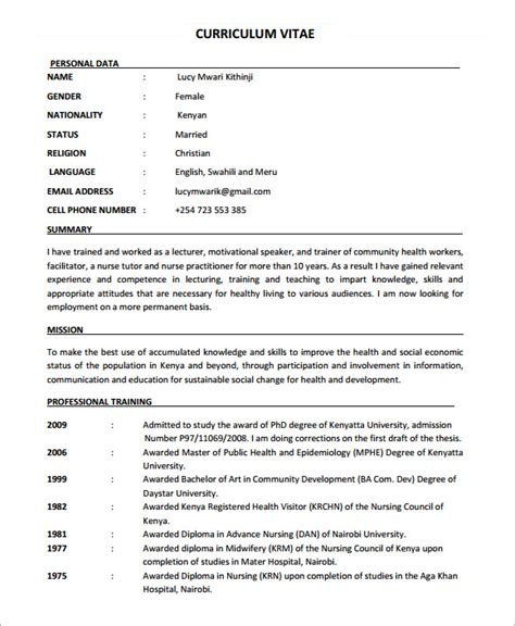 nursing cv template free nursing cv template 7 documents in pdf sle
