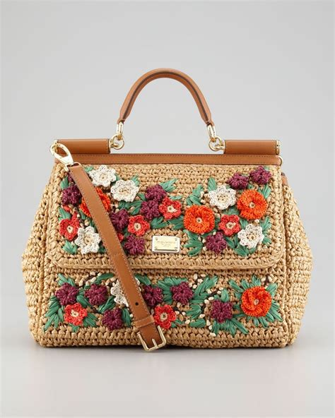 Dolce And Gabbana Floral Purse by Dolce Gabbana Miss Sicily Floral Crocheted Straw Satchel