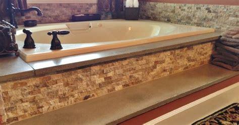 stone bathtub surround concrete bathtub surround and travertine stacked stone backsplash concrete