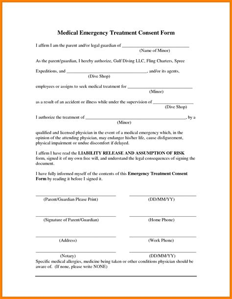 free printable child medical consent form for grandparents resume