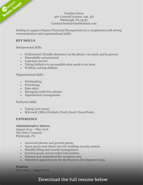 Receptionist Skills Resume by How To Write A Receptionist Resume Exles Included