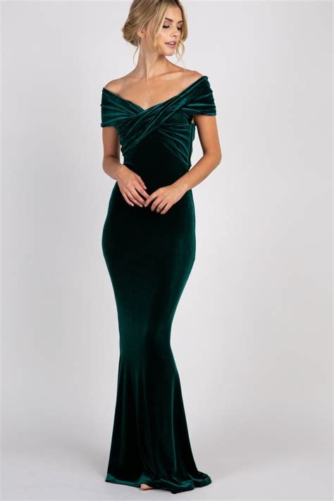 forest green velvet  shoulder mermaid evening gown