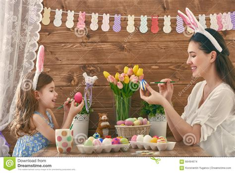 5 Adorable Families Celebrating Easter by Family Preparing For Easter Stock Photo Image 66494674