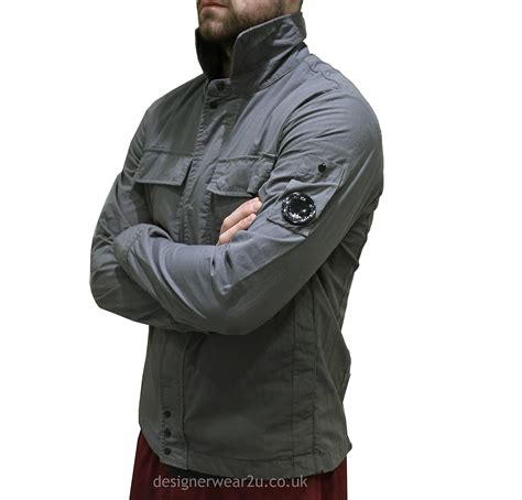 Cp Jaket Grey cp company grey overshirt with arm lens jackets from designerwear2u uk