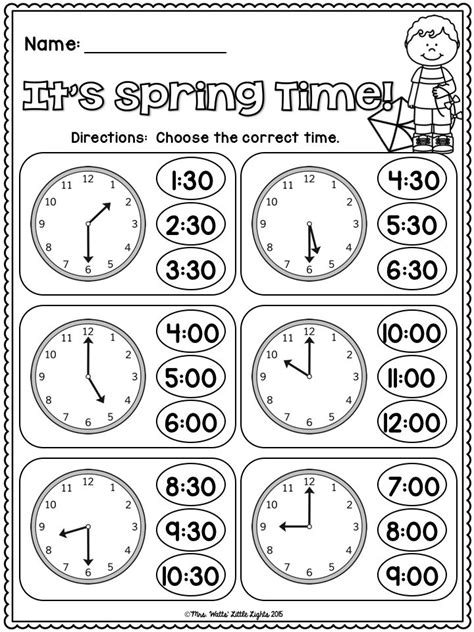 clock worksheets on the hour free it s spring time telling time to the hour and half