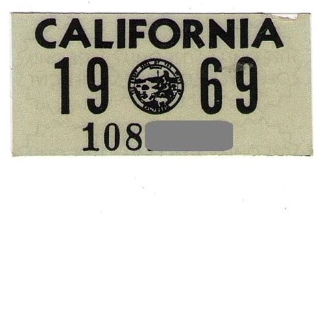Sticker Plat California vintage california license plate decal 1969 sold on ruby