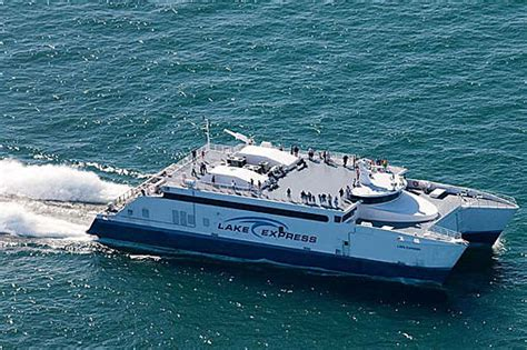 muskegon catamaran ferry lake michigan high speed ferry begins 2016 trips to