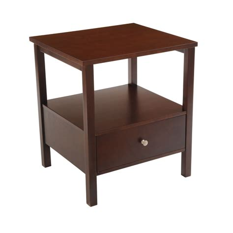 espresso end table with drawer bay shore collection end table with full wood top and