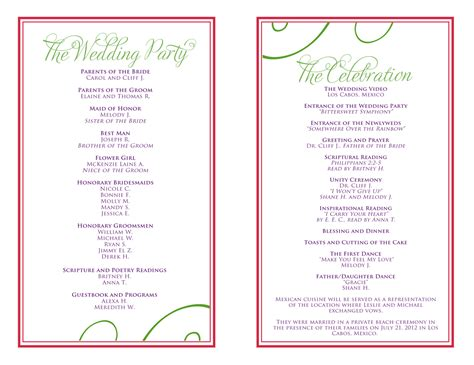 celebration of program template wedding itinerary templates free reception programs