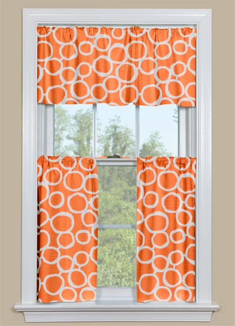 Geometric Orange Curtains Retro Kitchen Curtains In Orange And White