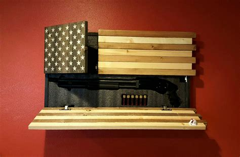 wood american flag gun cabinet gun concealment cabinet american flag dual locking doors