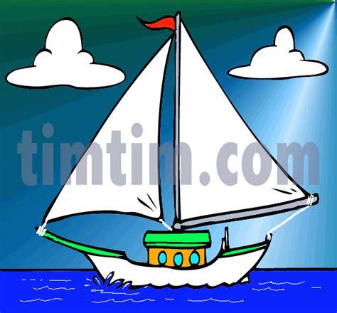 cartoon boat small drawn sailing small boat pencil and in color drawn