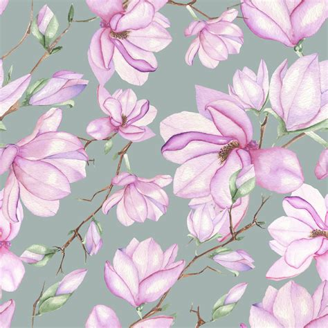 Floral Seamless magnolias seamless floral pattern custom wallpaper