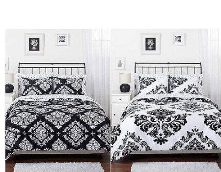 amazoncom black white damask reversible girls teens full comforter set home kitchen girl