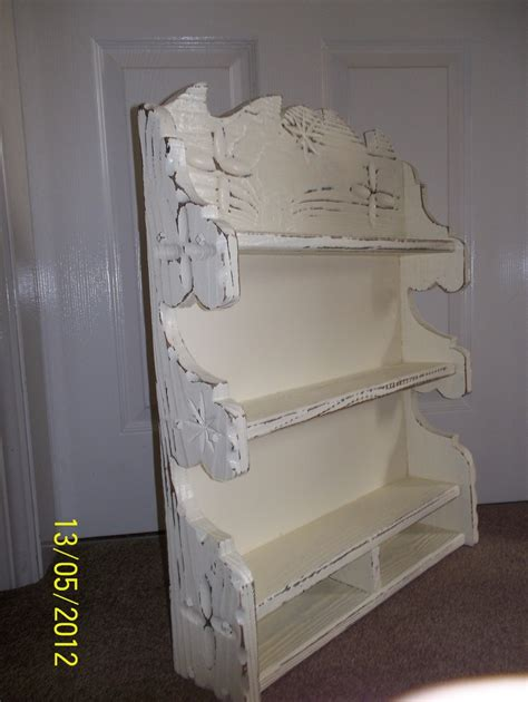 shabby chic rustic wall shelf unit cream for the home