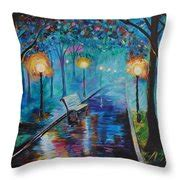 lighted pillows and blankets lighted park path painting by leslie allen
