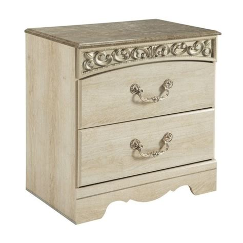 white nightstand with wood drawers ashley catalina 2 drawer wood nightstand in antique white