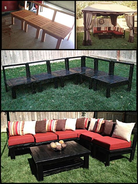 Diy Outdoor Patio Furniture Diy Patio Furniture My Husband Made This Sectional Sofa Set Out Of 2x4s Plans Can Be Found On
