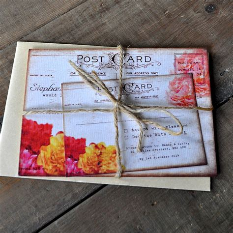 wedding invite postcards floral vintage postcard wedding invitation by feel