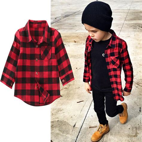 baby boy red and black checkered shirt baby girl cotton plaid shirt kids red plaid blouse baby