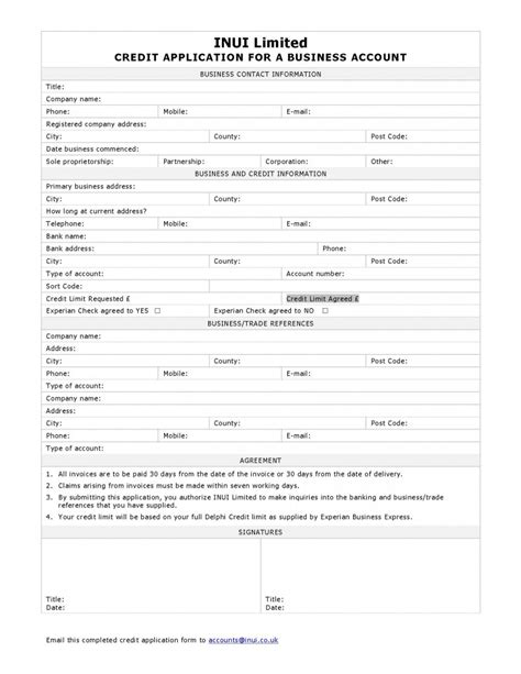 Credit Application Form Template Uk Business Credit Application Form Inui Inui