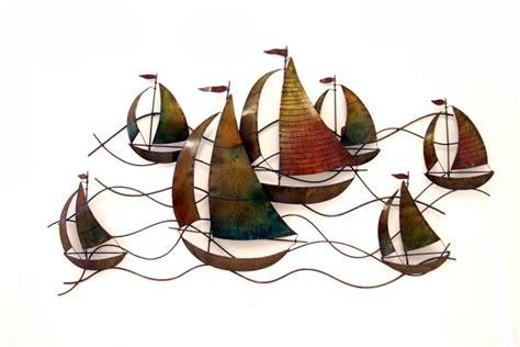 sailing boat metal wall art metal wall art decor colour sailing boat yacht race ebay