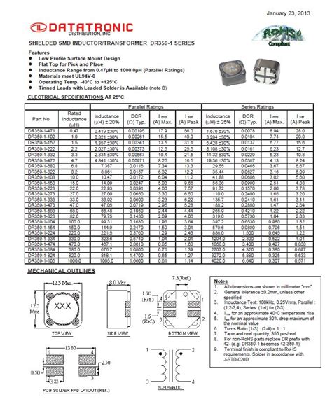 inductor passive component shielded smd inductor transformer dr359 1 series electronic products