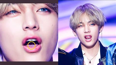 kim taehyung piercings netizens doubt that v bts is having a tongue piercing