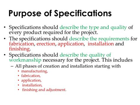 specification writting civil construction