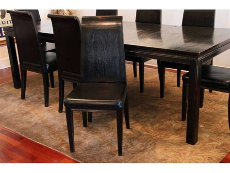 asian style black lacquered elmwood dining table