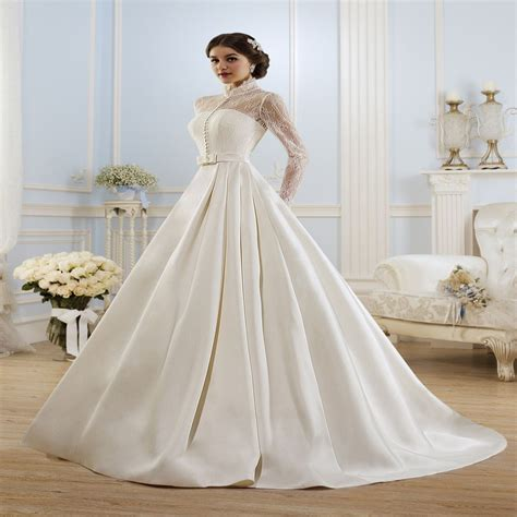 elegant long sleeve wedding dress muslim dress  simple