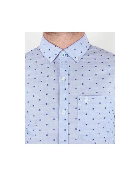 Woven Button Up Cat Chambray Original original penguin chambray woven shirt blue smart sleeve