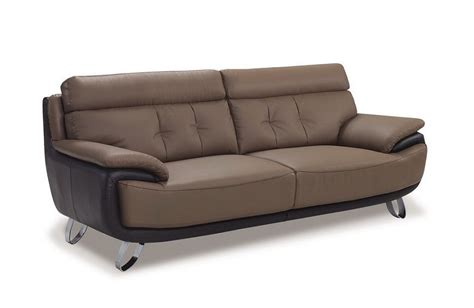 Contemporary Tan Brown Bonded Leather Sofa Prime Classic