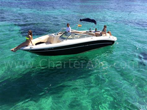 small motor boat hire ibiza skippered speed boat sea ray 230 for 10 people yacht