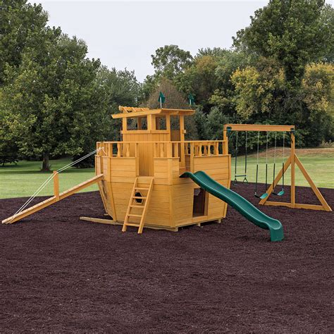 wooden boat swing set playground equipment or backyard playsets wooden beam