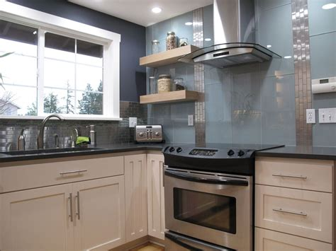 modern kitchen with glass tile backsplash by cornerstone