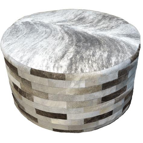 grey round ottoman gray round cowhide ottoman 36 inch