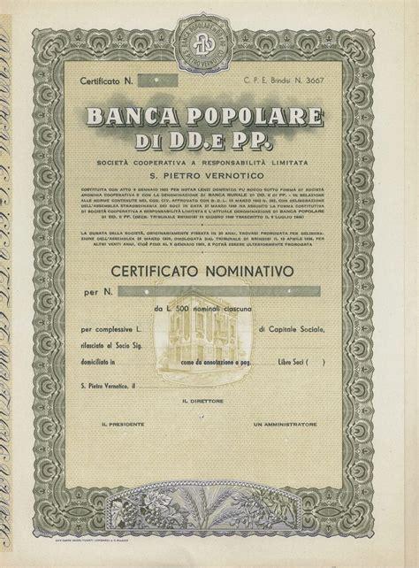 Banca Popol banca popol di dd e pp san pietro vernotico titolo