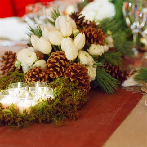 centerpieces with pine cones four seasons real weddings a majestic mountain wedding in