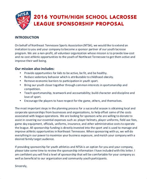 sports team sponsorship proposal template athletic sponsorship template one
