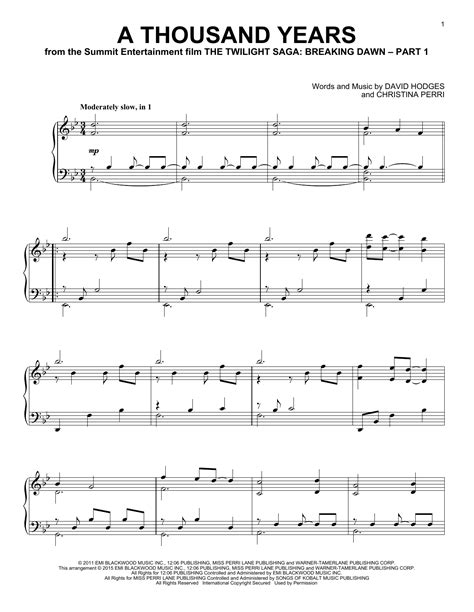 free printable sheet music a thousand years a thousand years sheet music direct