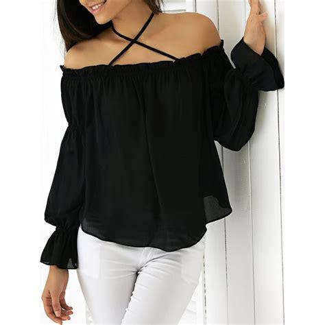 42433 Black Dress wholesale halter flounced sleeve blouse in