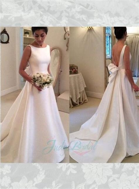 jol simple bateau neck plain satin   wedding bridal dress  weddbook