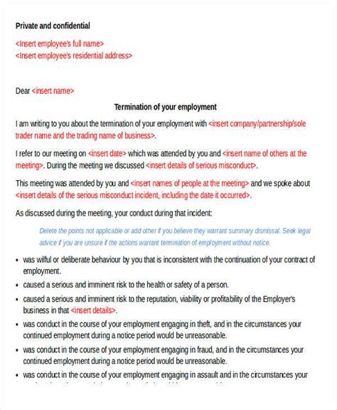 termination letter format with immediate effect termination letter format