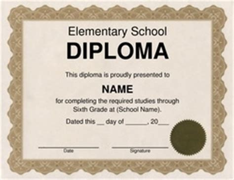 Diploma Free Templates Clip Art Wording Geographics Elementary School Graduation Diploma Template