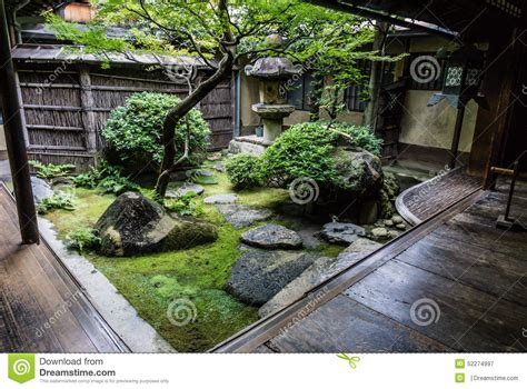 Courtyard House Plan by Traditional Japanese Courtyard Garden Stock Photo Image