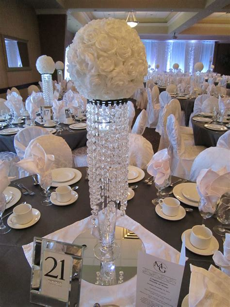 White Sparkle Wedding Bling Centerpieces With White Rose Balls Centerpieces Wedding