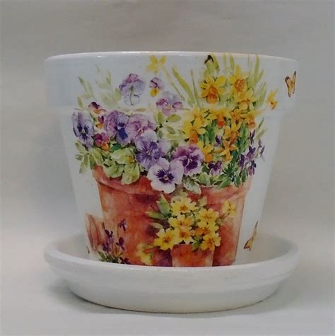 Decoupage Terracotta Plant Pots - made to order handmade decoupage terra cotta clay pot