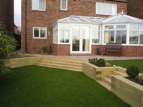 Split Level Garden Ideas Split Level Garden In Tollerton York Using Sleepers Garden Ideas Pinterest Gardens