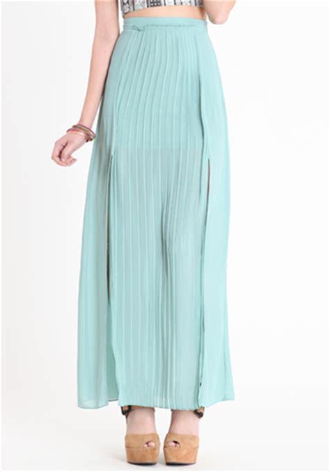 glam deal threadsence pleated mint maxi skirt inher glam